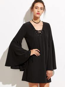 Black V Neck Lace Up Bell Sleeve Dress