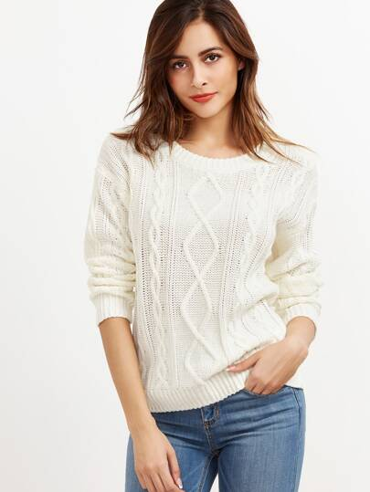 White Cable Knit Drop Shoulder Sweater