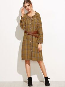 Khaki Lace Up Plaid Shirt Dress