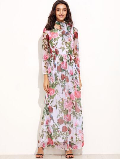 Модное шифоновое платье с цветочным принтом с поясом