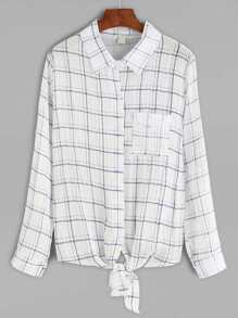 Plaid Knotted Blouse With Pocket
