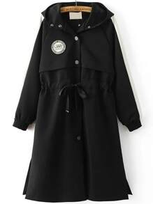 Black Embroidery Back Patch Hooded Coat Drawstring Detail