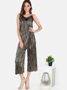 Lace Applique Cami Top and Pleated Culotte Pants Set BLACK
