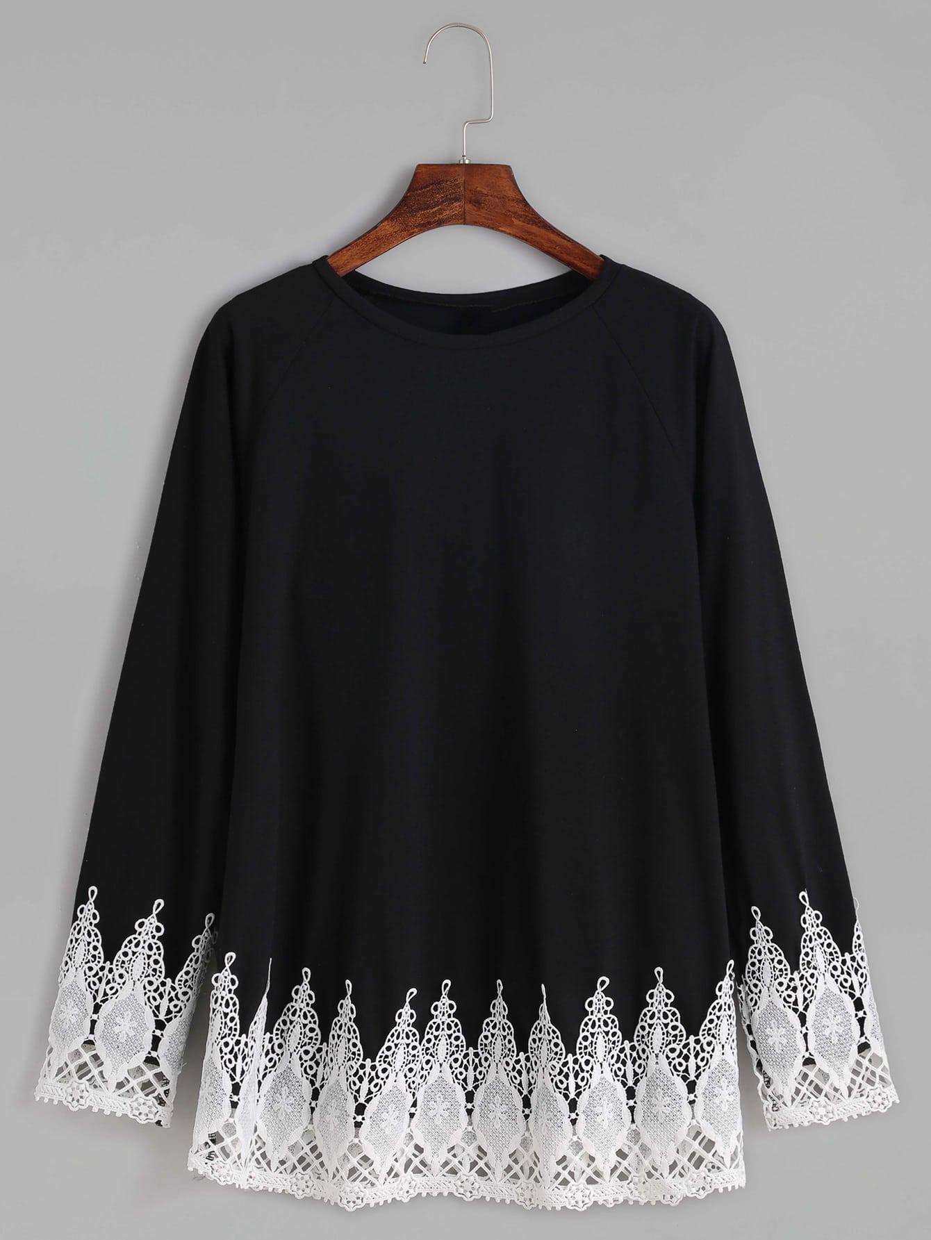 Contrast Crochet Trim Raglan Sleeve T-shirt tee160929105