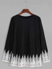 Black Contrast Crochet Trim T-shirt