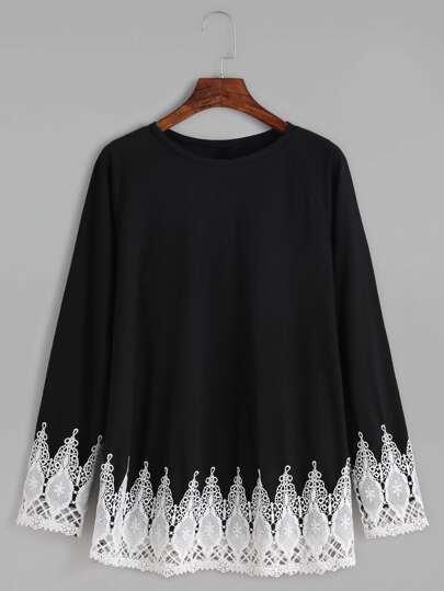 Contrast Crochet Trim Raglan Sleeve T-shirt