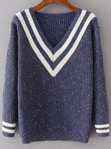Blue Striped V Neck Sweater