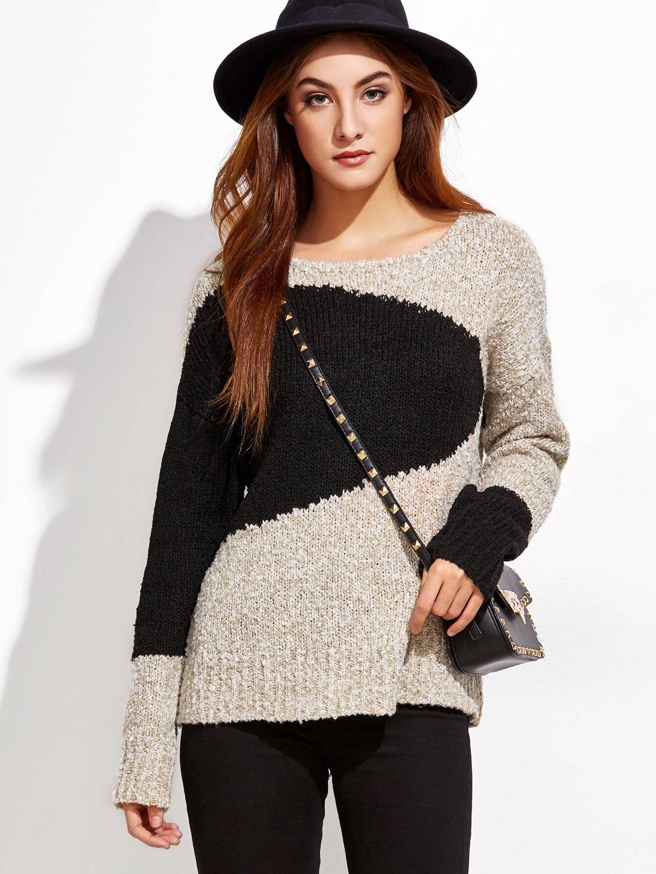 Contrast Marled Knit Drop Shoulder Sweater sweater160930452