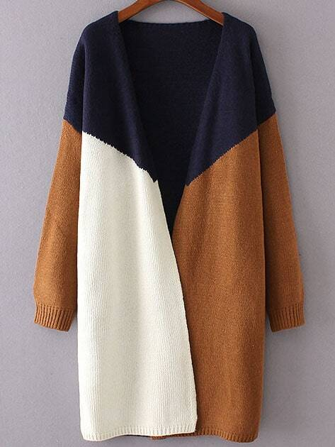 Navy Color Block Collarless Drop Shoulder Cardigan sweater160906229
