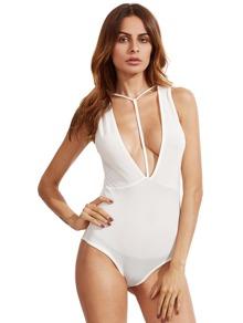 Plunging Y-Strap Cutout Bodysuit