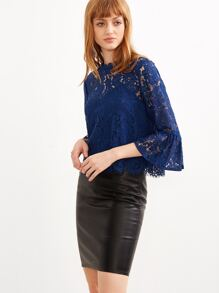Blue Bell Sleeve Floral Lace Top
