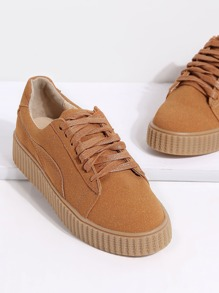 Brown Faux Suede Round Toe Lace Up Rubber Sole Shoes