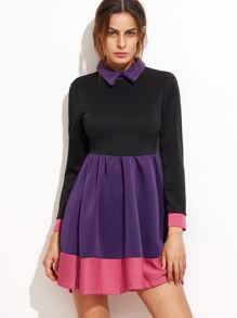 Color Block Long Sleeve Pleated Skater Dress