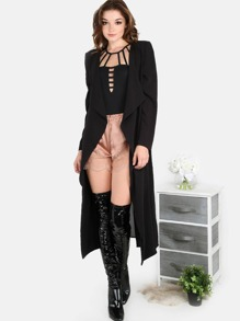 Chiffon Blazer Duster Coat BLACK