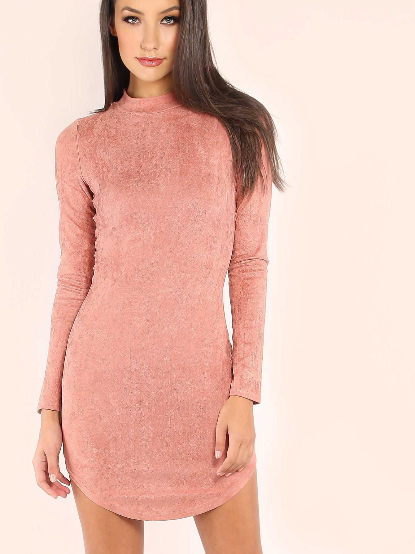 Pink Mock Neck Curved Hem Velvet Bodycon Dress