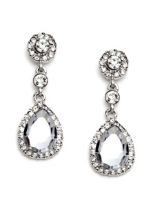Rhinestone Encrusted Drop Earrings