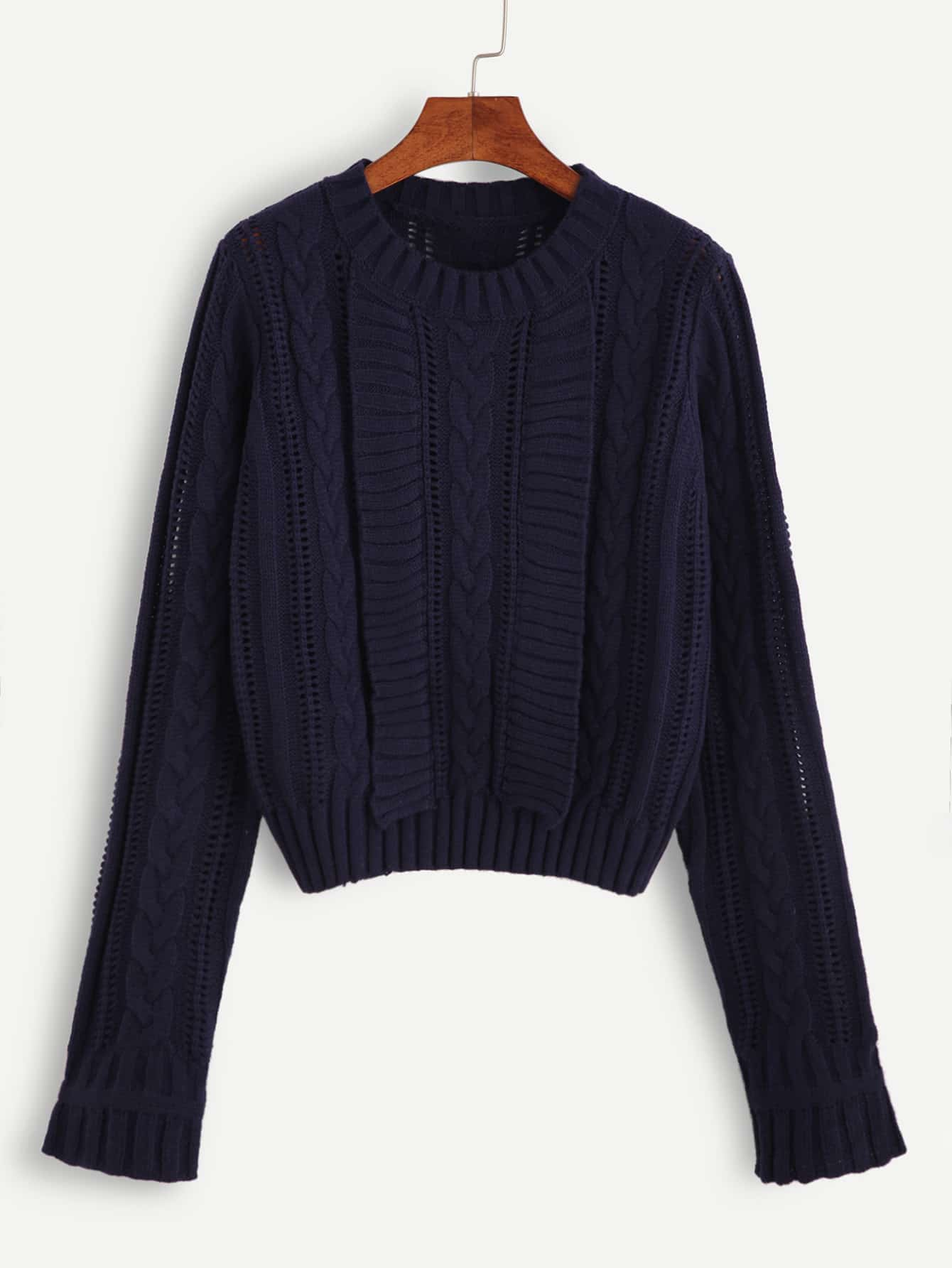 Navy Hollow Out Cable Knit Sweater sweater160929104