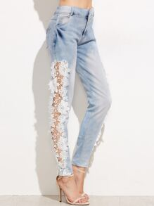 Pale Blue Crochet Hollow Denim Pants