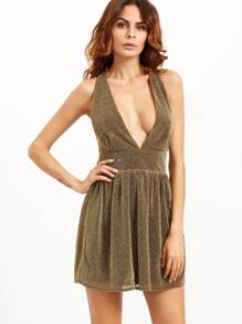 Gold Deep V Neck Sparkle Detail Party Dress