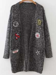 Mixed Patch Marled Knit Long Cardigan With Pockets