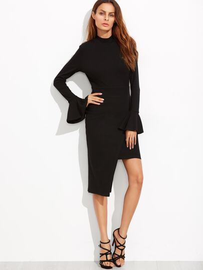 Black Open Back Bell Cuff Asymmetric Wrap Dress