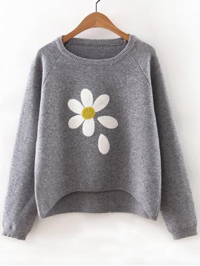 Pull imprimé floral manche raglan - gris