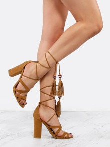 Strappy Open Toe Tassel Heels TAN