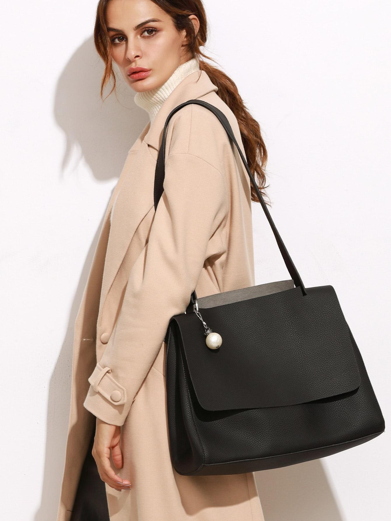 Фото Faux Pearl Pendant Flap Shoulder Bag. Купить с доставкой