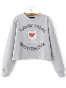 Grey Letter Print Crop Sweatshirt