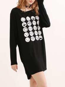 Black Emoji Print Ruched Side Tee Dress