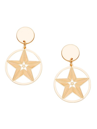 Gold Plated Star Hollow Out Drop Earrings
