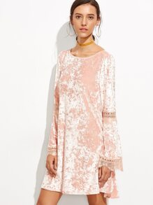 Pink Lace Insert Velvet Swing Dress