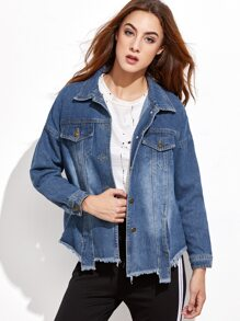 Blue Fringe Pockets Denim Jacket