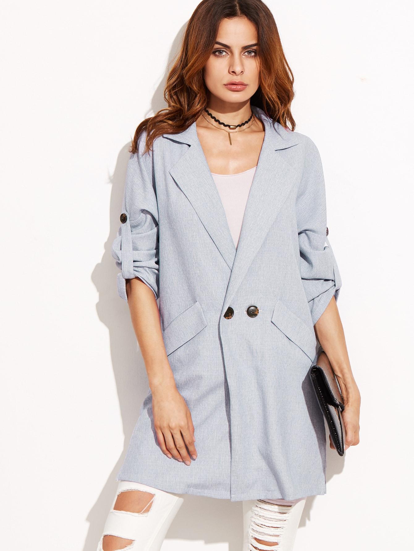 Blue Drop Shoulder Roll Tab Sleeve CoatBlue Drop Shoulder Roll Tab Sleeve Coat<br><br>color: Blue<br>size: S,XS