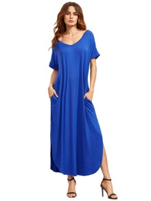 Blue Short Sleeve Pocket Split Side Dress