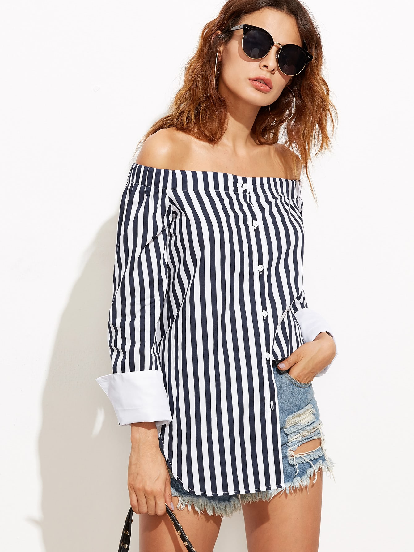 Фото Bardot Vertical Striped Cuffed Curved Hem Top. Купить с доставкой