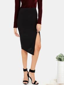 Classic Slit Bodycon Skirt BLACK