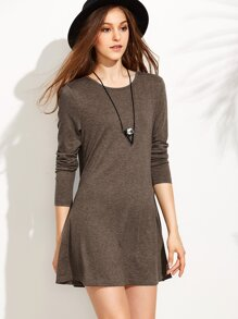 Heather Brown Long Sleeve T-shirt Dress