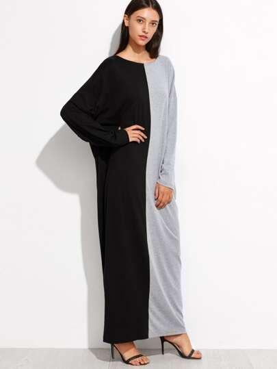 فستان ماكسي رمادي أسود كم طويل