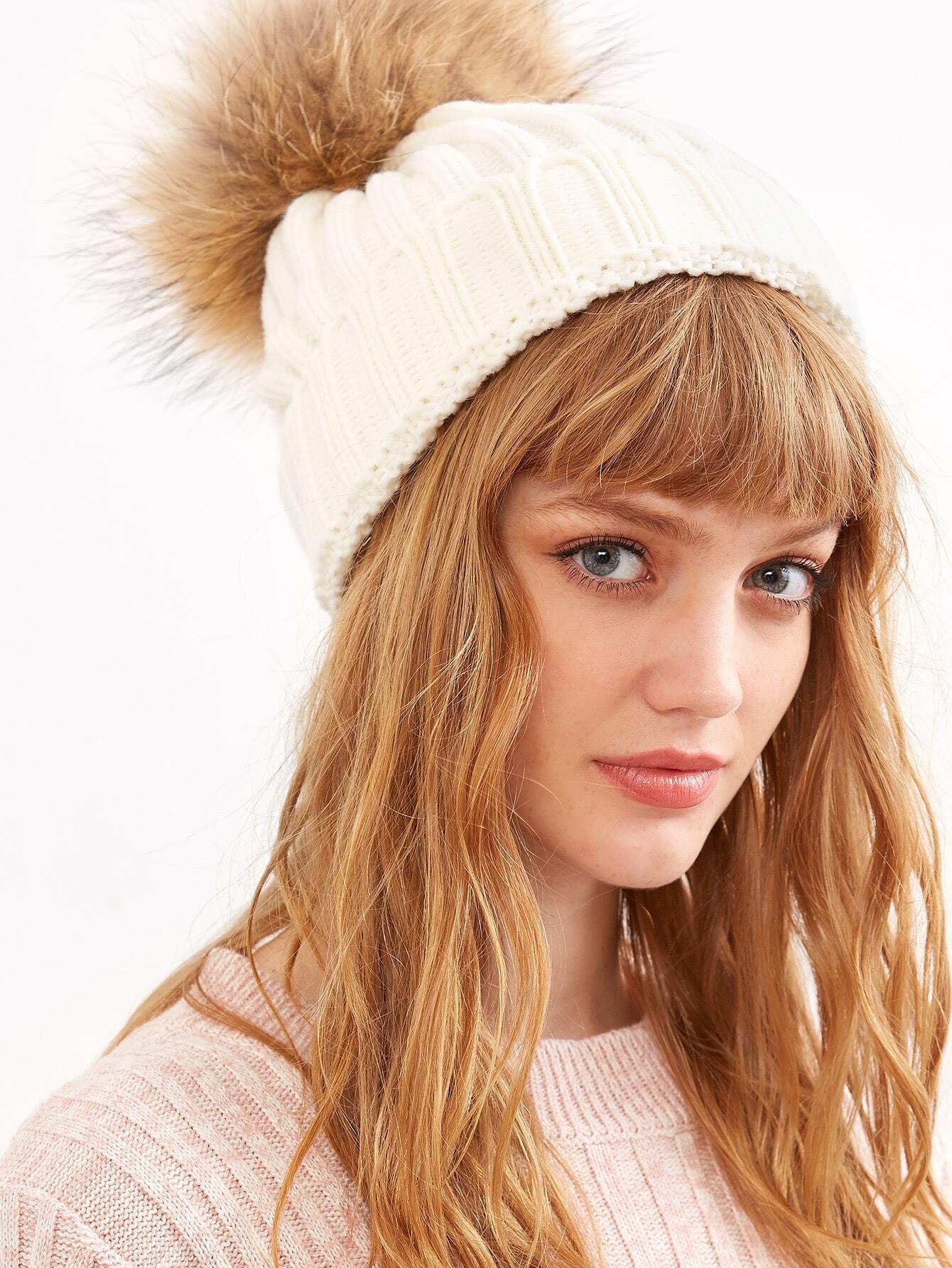 White Ribbed Detachable Pom Pom Hat hat160913305