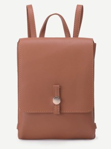 Khaki Faux Leather Flap Backpack
