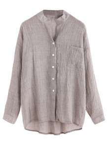 Grey Drop Shoulder High Low Shirt With Pocket
