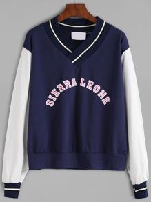 V Neck Striped Trim Letter Print Sweatshirt