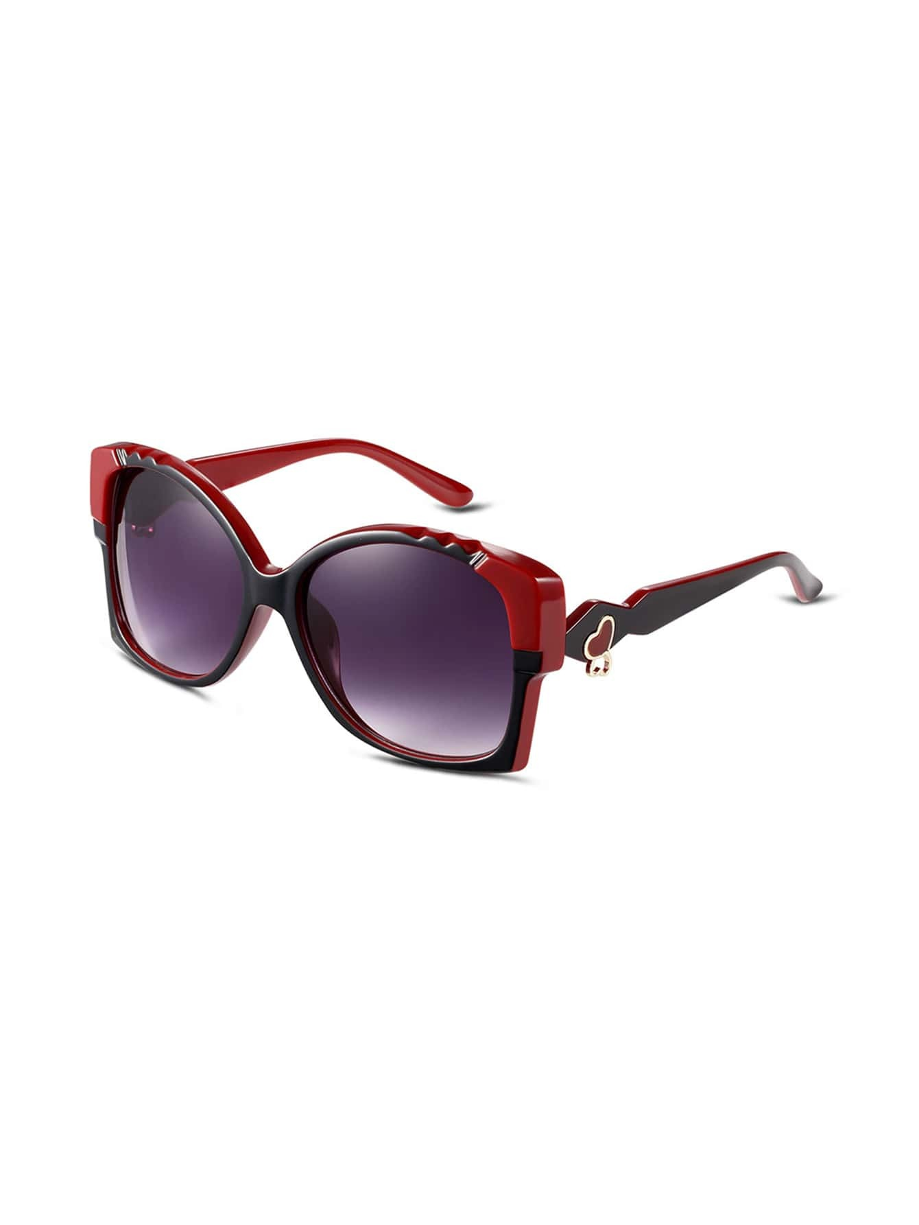 Big Red Frame Glasses : Red Geometric Frame Large Lens Sunglasses -SheIn(Sheinside)