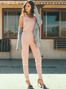 Combi-pantalons taille élastique sans manche - rose