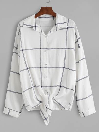 White Grid Buttons Front Knot Blouse