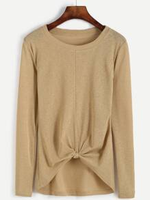 Khaki Knotted Front T-shirt