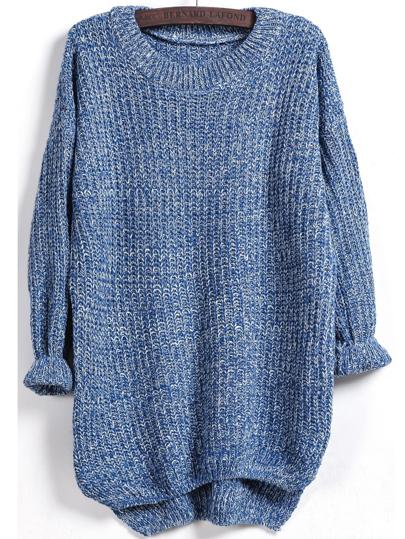Blue Long Sleeve Dipped Hem Loose Sweater