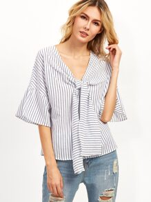 Vertical Striped Tie Neck Blouse