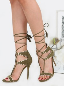 Lace Up Embroidered Suede Heels OLIVE